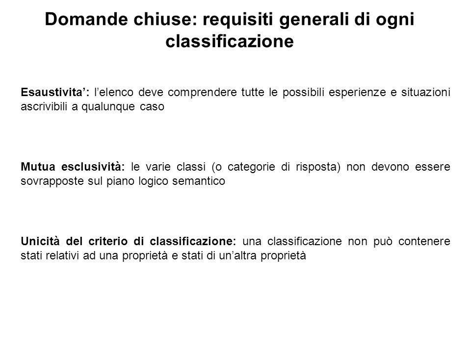 Domande chiuse: requisiti generali di ogni classificazione