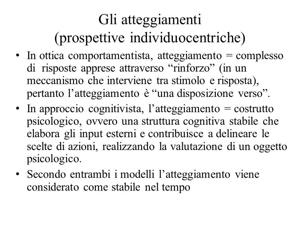 Gli atteggiamenti (prospettive individuocentriche)