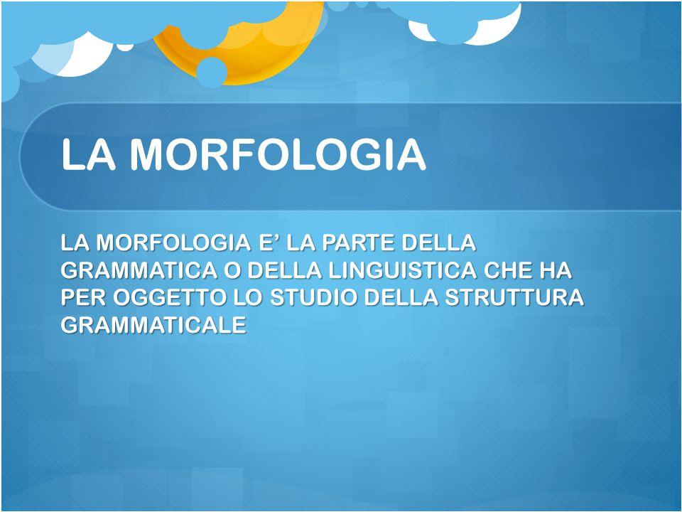 LA MORFOLOGIA LA MORFOLOGIA E' LA PARTE DELLA GRAMMATICA O DELLA LINGUISTICA CHE HA PER OGGETTO LO STUDIO DELLA STRUTTURA GRAMMATICALE.