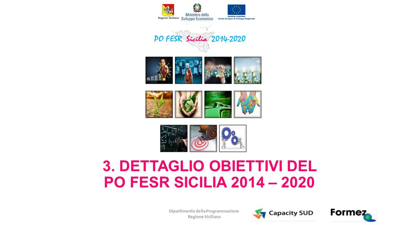 3. DETTAGLIO OBIETTIVI DEL PO FESR SICILIA 2014 – 2020