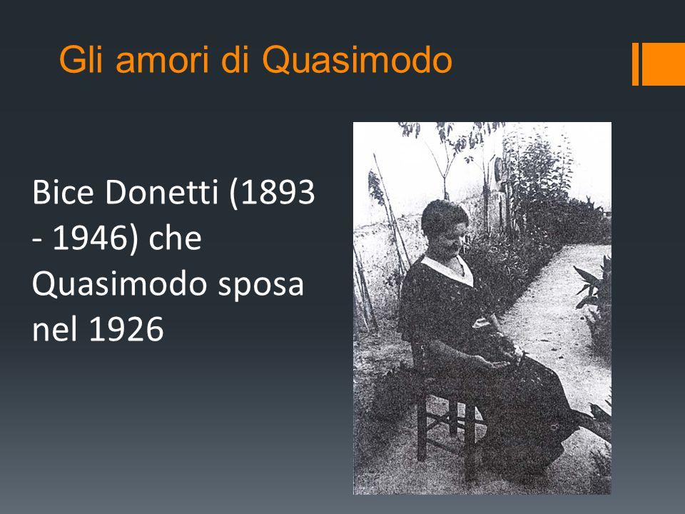Bice Donetti (1893 - 1946) che Quasimodo sposa nel 1926