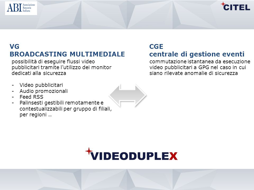 BROADCASTING MULTIMEDIALE CGE centrale di gestione eventi