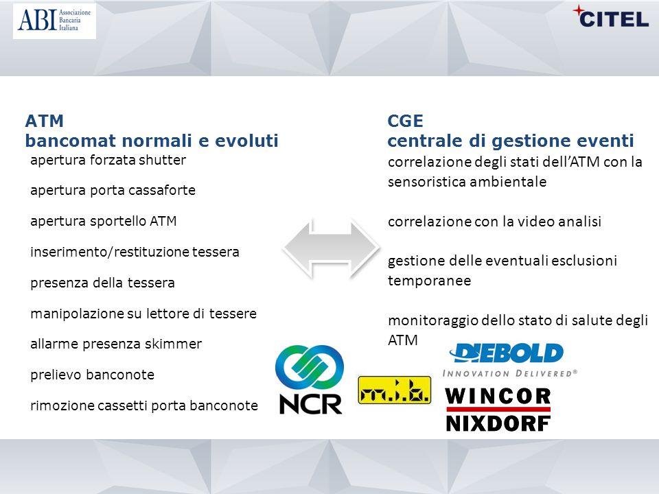 bancomat normali e evoluti CGE centrale di gestione eventi