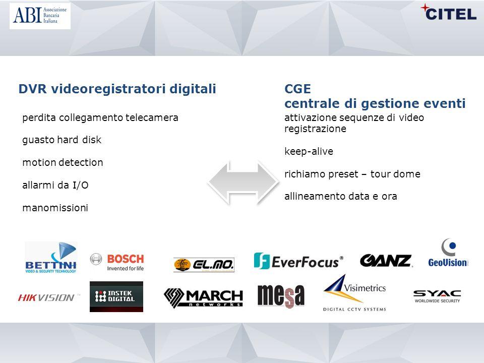 DVR videoregistratori digitali CGE centrale di gestione eventi