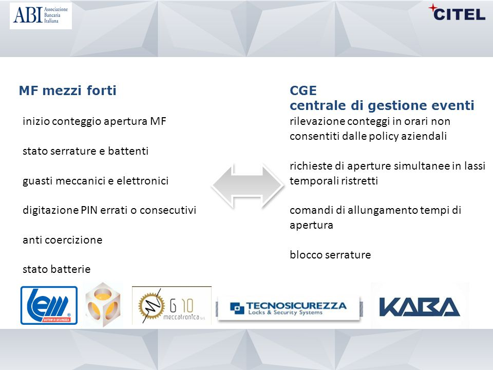 MF mezzi forti CGE. centrale di gestione eventi. inizio conteggio apertura MF. stato serrature e battenti.