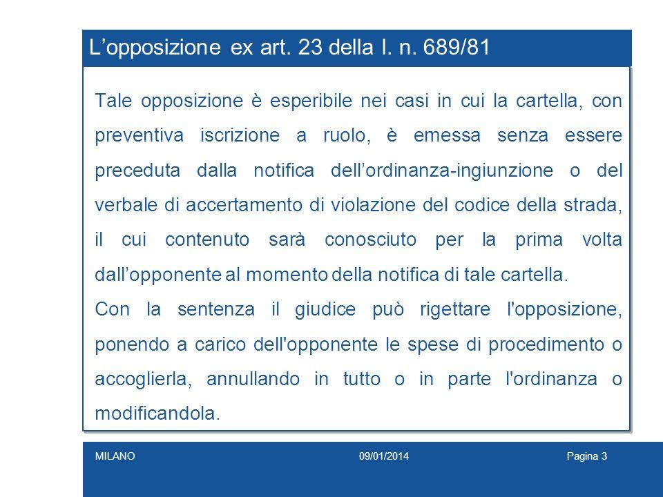 L'opposizione ex art. 23 della l. n. 689/81