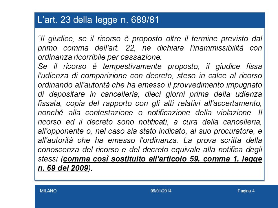 L'art. 23 della legge n. 689/81