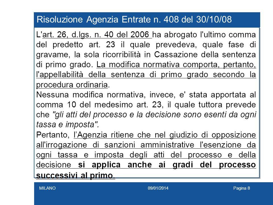 Risoluzione Agenzia Entrate n. 408 del 30/10/08