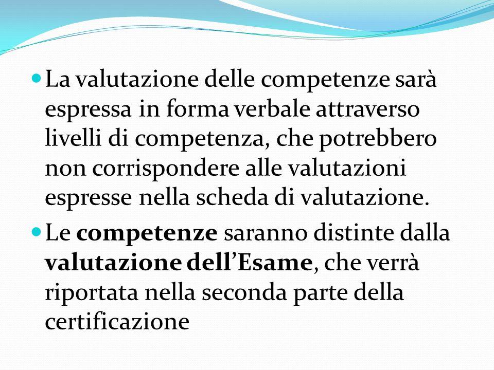 La valutazione delle competenze sarà espressa in forma verbale attraverso livelli di competenza, che potrebbero non corrispondere alle valutazioni espresse nella scheda di valutazione.