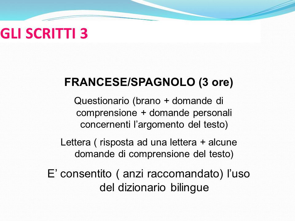 FRANCESE/SPAGNOLO (3 ore)