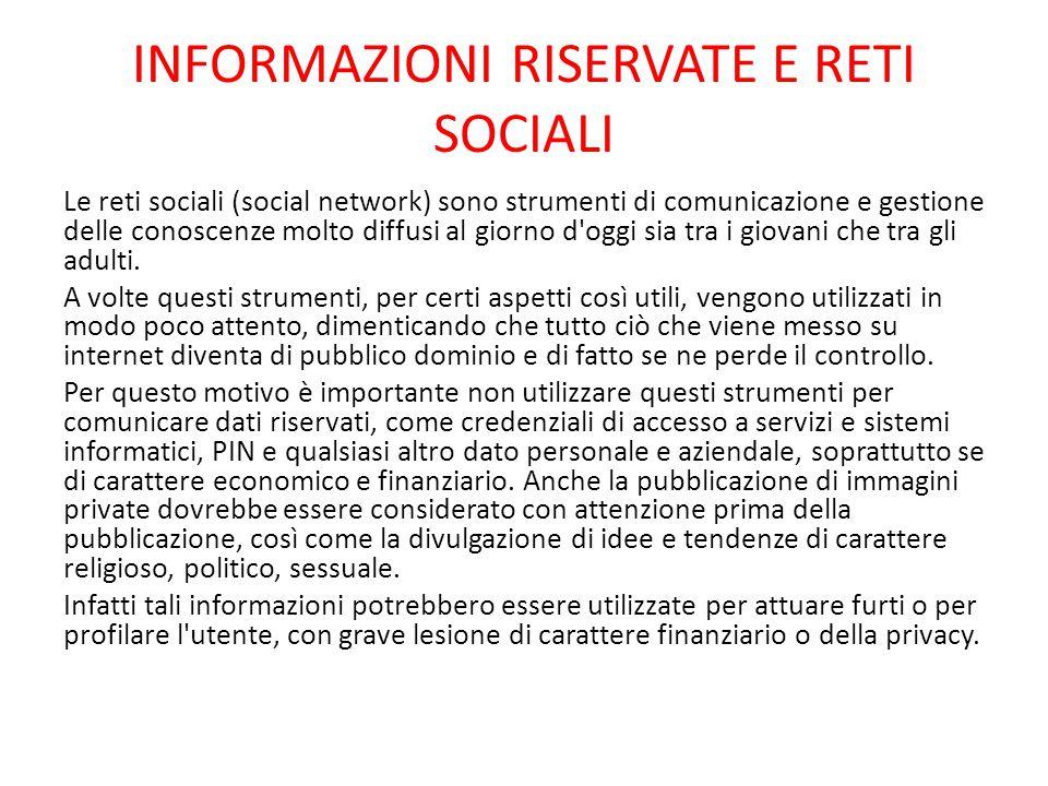 INFORMAZIONI RISERVATE E RETI SOCIALI