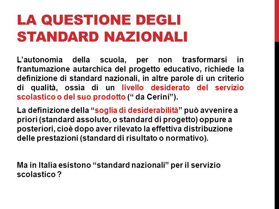 La questione degli standard nazionali