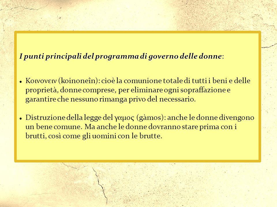 I punti principali del programma di governo delle donne: