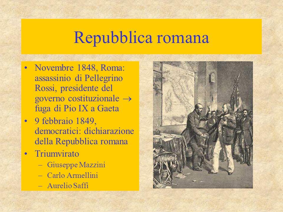 Repubblica romana Novembre 1848, Roma: assassinio di Pellegrino Rossi, presidente del governo costituzionale  fuga di Pio IX a Gaeta.