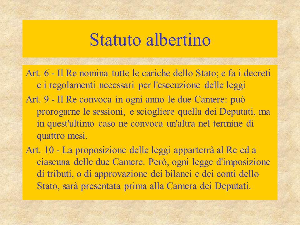 Statuto albertino Art. 6 - Il Re nomina tutte le cariche dello Stato; e fa i decreti e i regolamenti necessari per l esecuzione delle leggi.