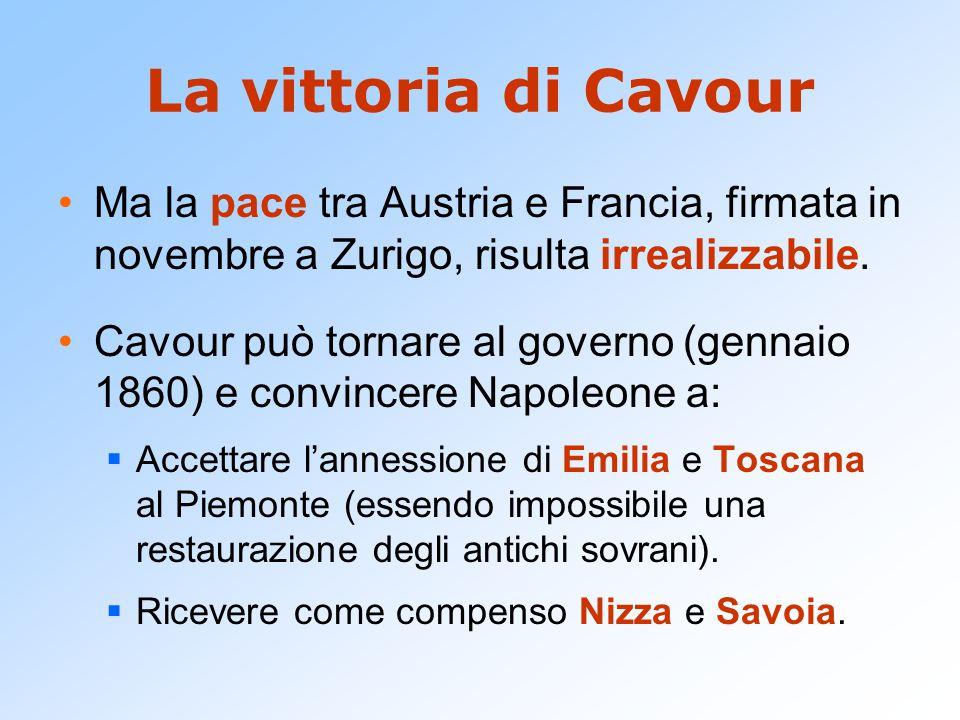 La vittoria di Cavour Ma la pace tra Austria e Francia, firmata in novembre a Zurigo, risulta irrealizzabile.