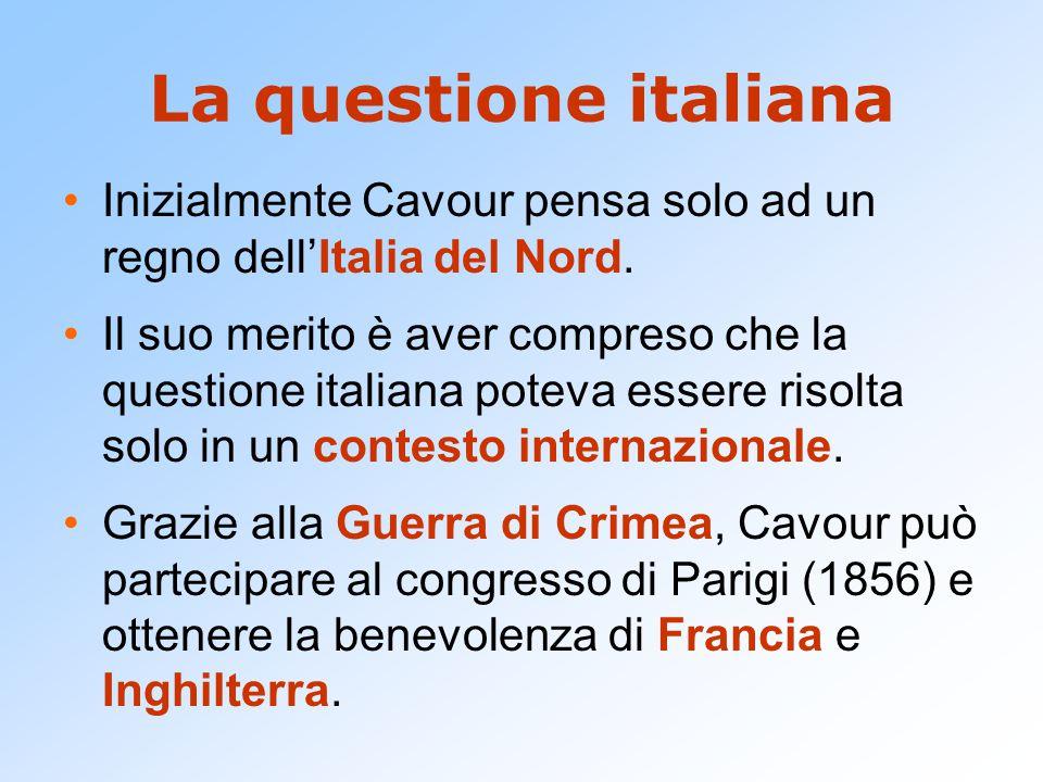 La questione italiana Inizialmente Cavour pensa solo ad un regno dell'Italia del Nord.
