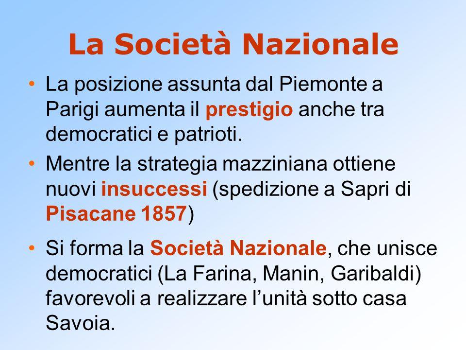 La Società Nazionale La posizione assunta dal Piemonte a Parigi aumenta il prestigio anche tra democratici e patrioti.