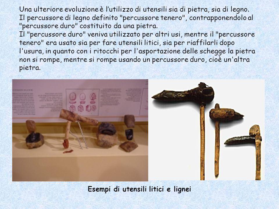 Esempi di utensili litici e lignei