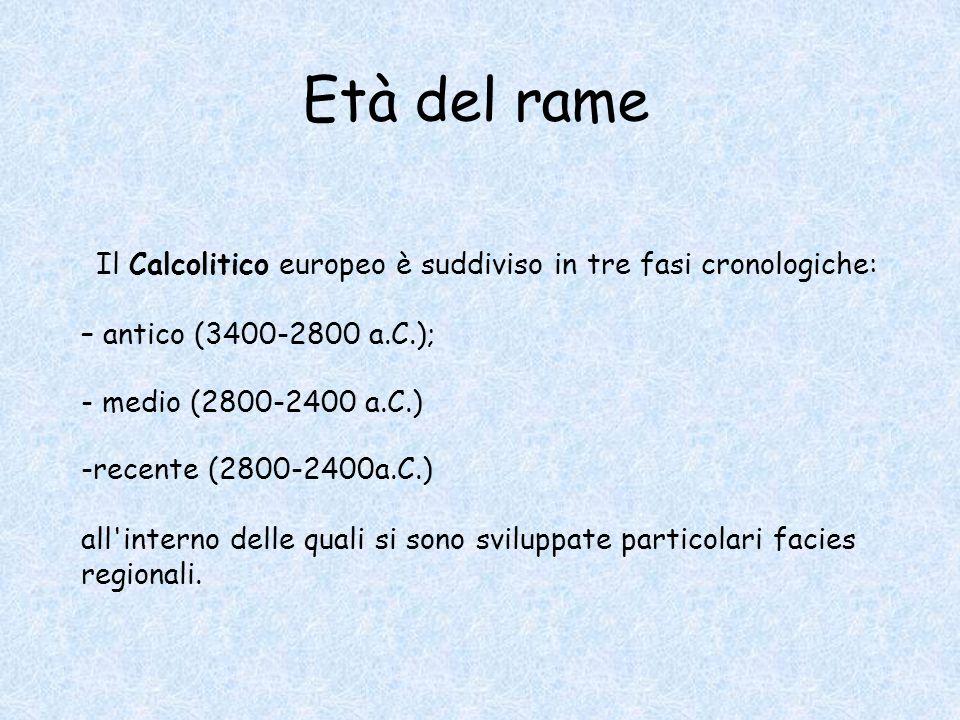 Il Calcolitico europeo è suddiviso in tre fasi cronologiche: