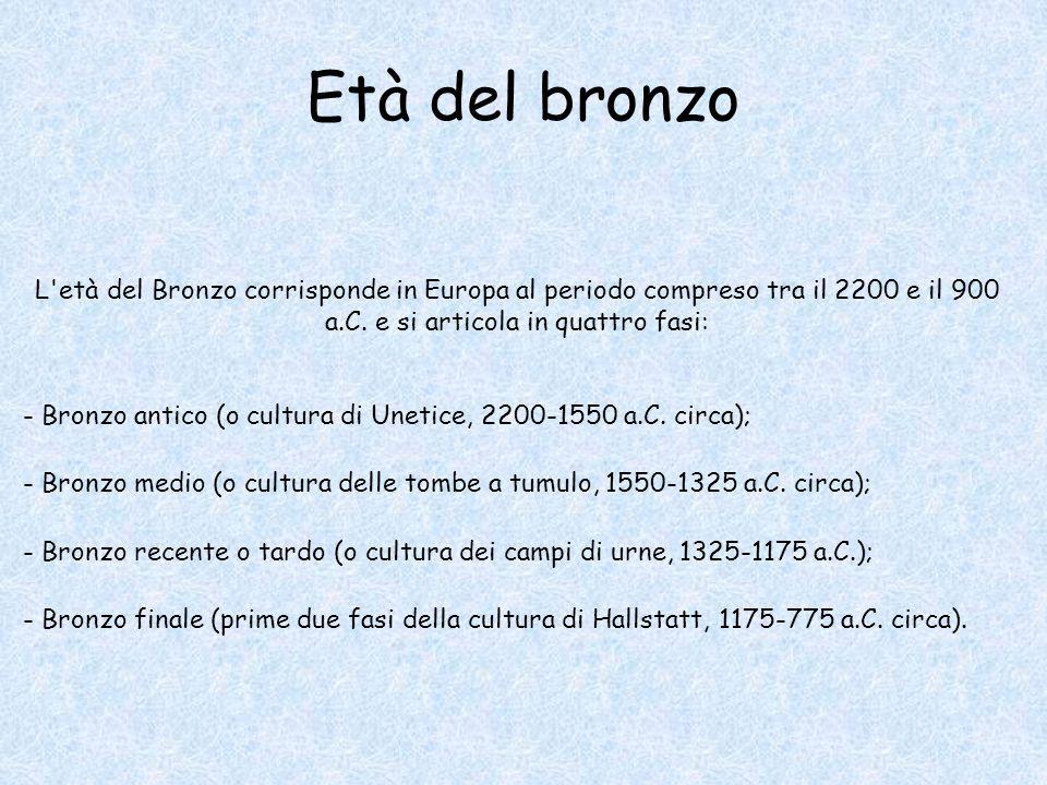 Età del bronzo L età del Bronzo corrisponde in Europa al periodo compreso tra il 2200 e il 900 a.C. e si articola in quattro fasi: