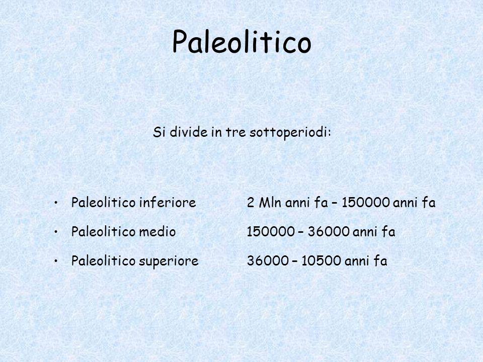 Paleolitico Si divide in tre sottoperiodi:
