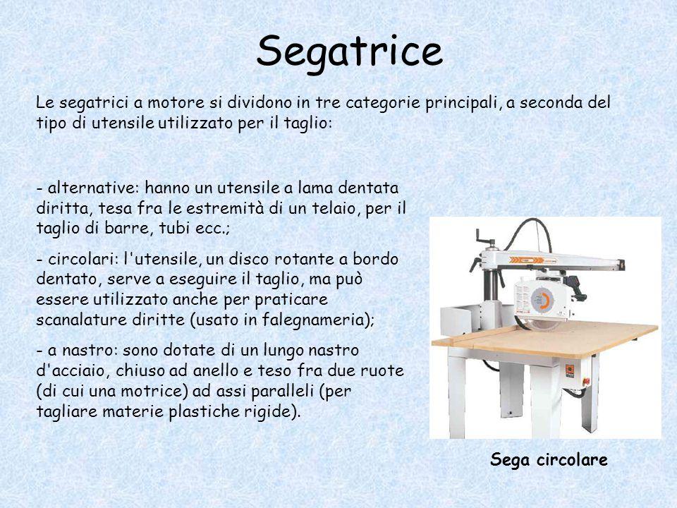 Segatrice Le segatrici a motore si dividono in tre categorie principali, a seconda del tipo di utensile utilizzato per il taglio: