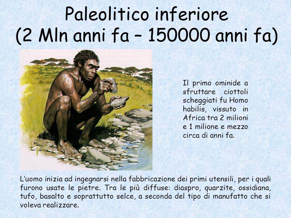 Paleolitico inferiore (2 Mln anni fa – 150000 anni fa)