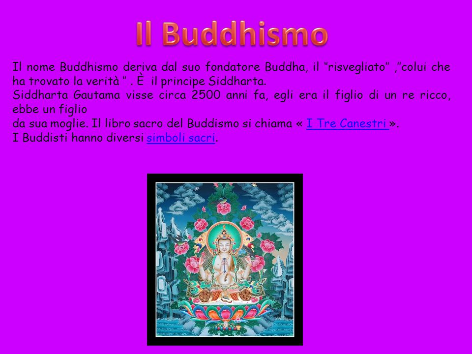 Il Buddhismo Il nome Buddhismo deriva dal suo fondatore Buddha, il ''risvegliato'' ,''colui che ha trovato la verità '' . È il principe Siddharta.