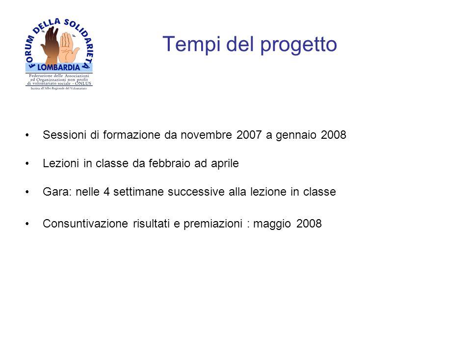 Tempi del progettoSessioni di formazione da novembre 2007 a gennaio 2008. Lezioni in classe da febbraio ad aprile.