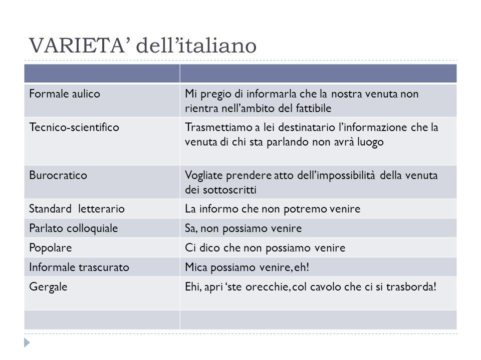 VARIETA' dell'italiano