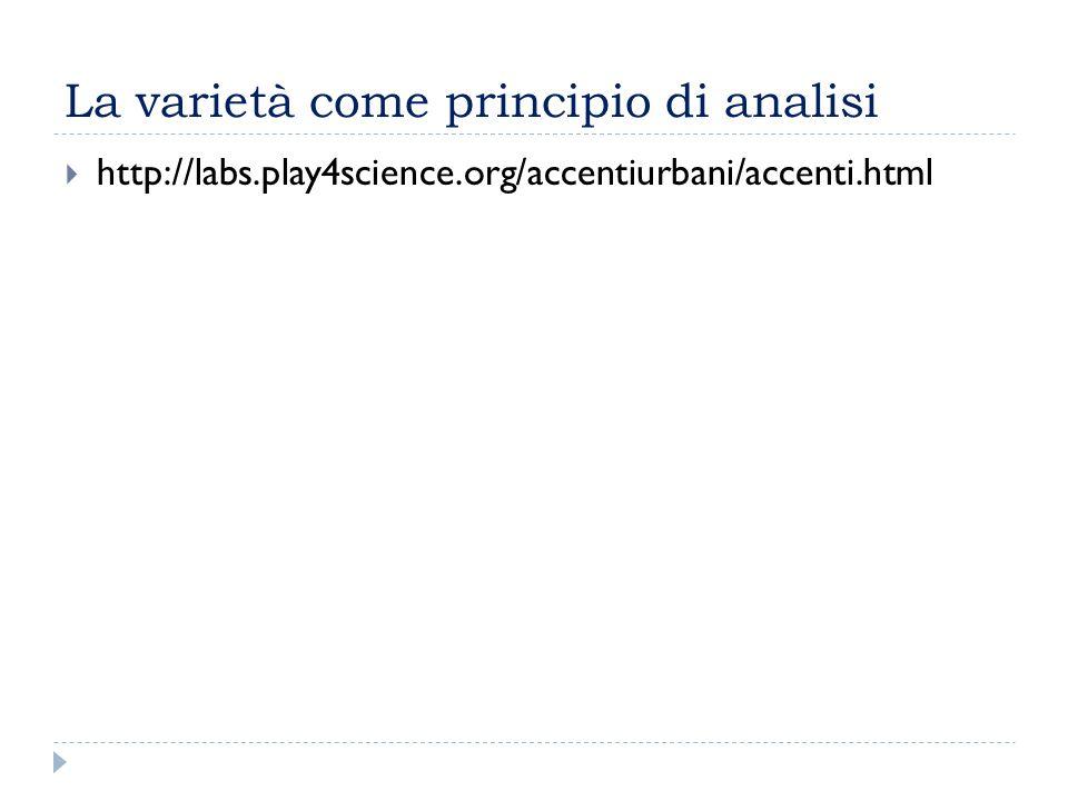 La varietà come principio di analisi