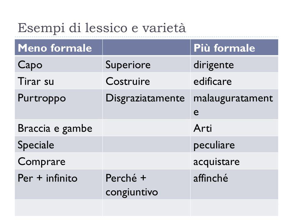Esempi di lessico e varietà