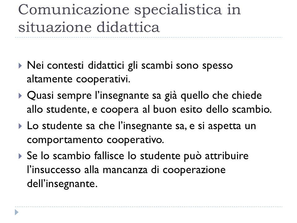 Comunicazione specialistica in situazione didattica