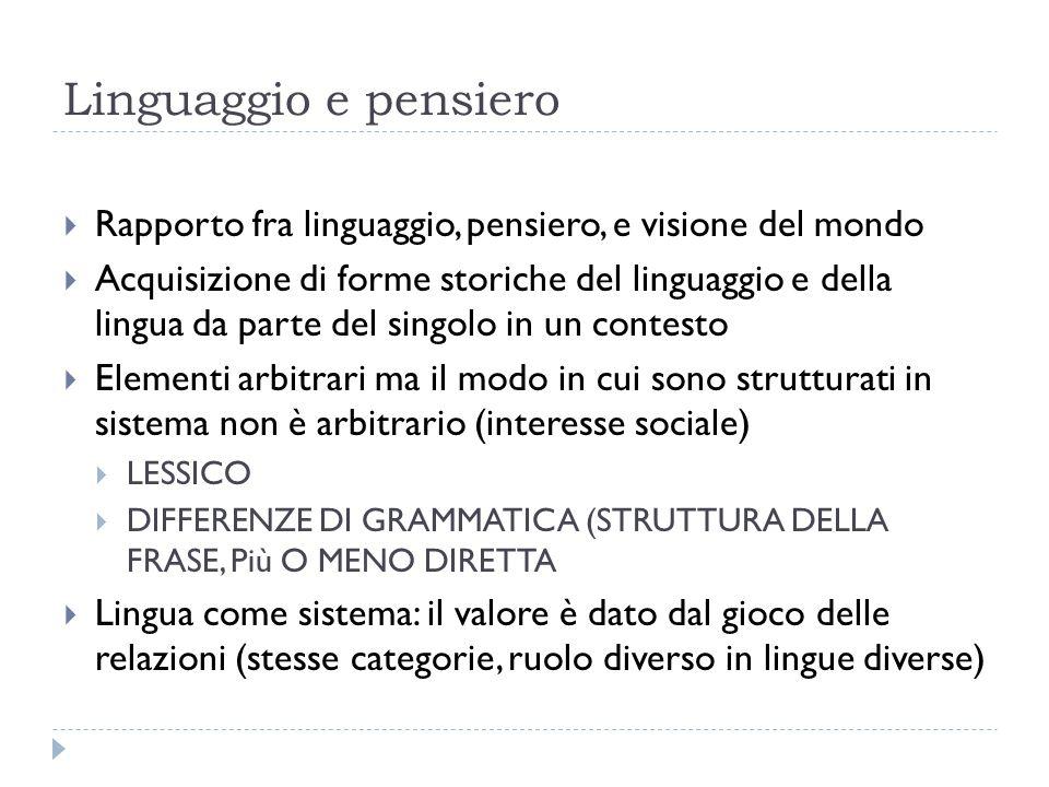Linguaggio e pensiero Rapporto fra linguaggio, pensiero, e visione del mondo.