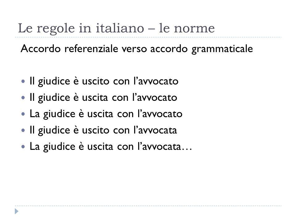 Le regole in italiano – le norme