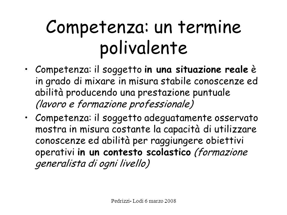 Competenza: un termine polivalente