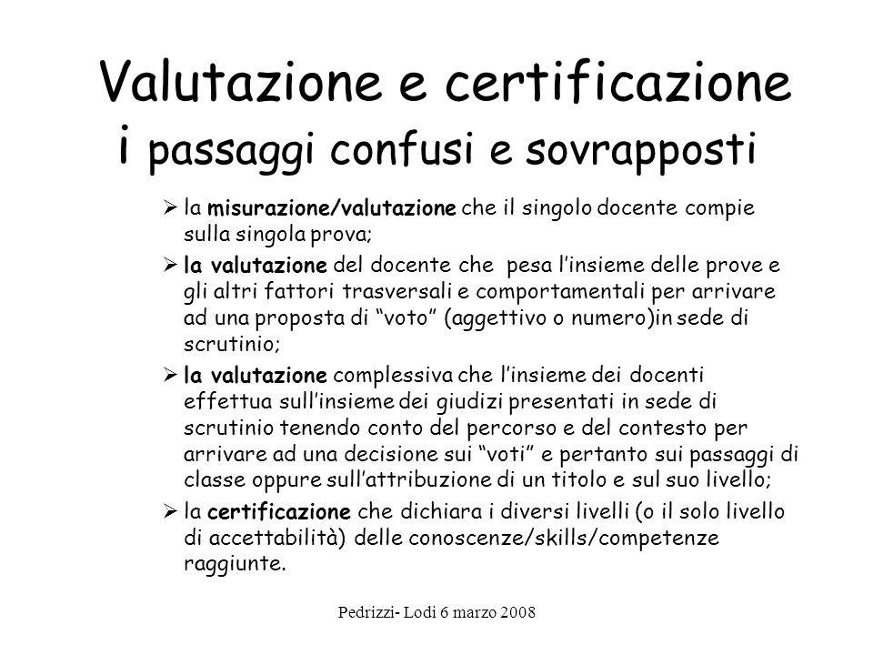 Valutazione e certificazione i passaggi confusi e sovrapposti