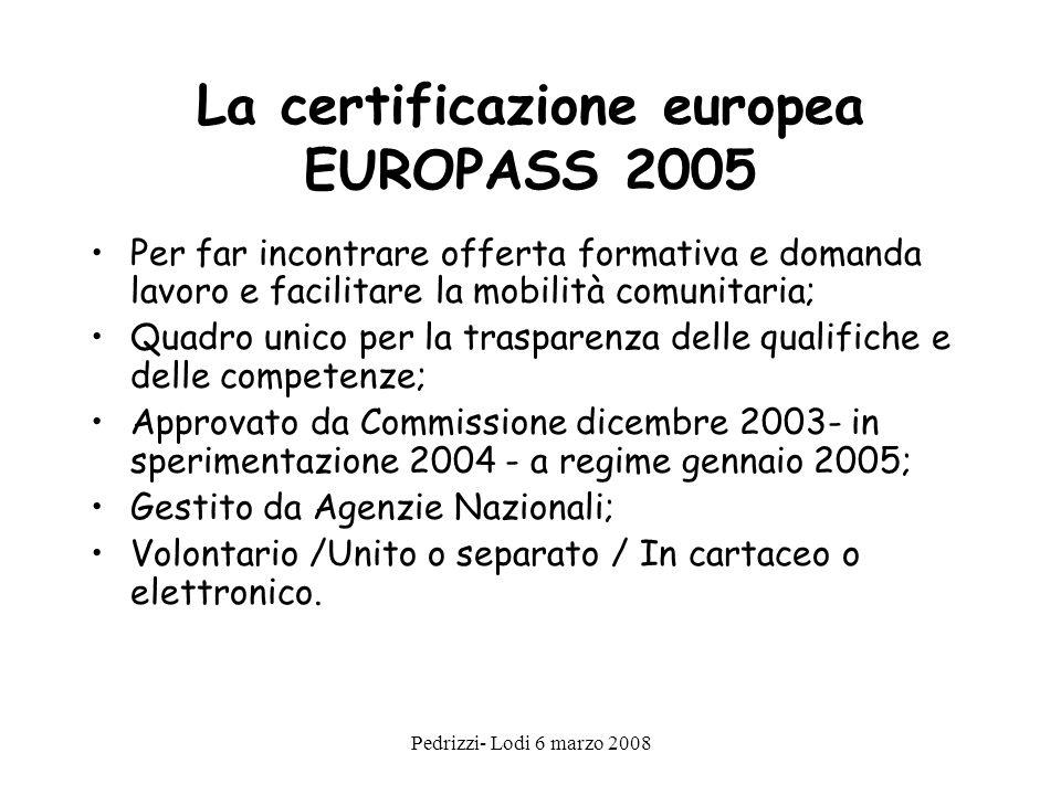 La certificazione europea EUROPASS 2005