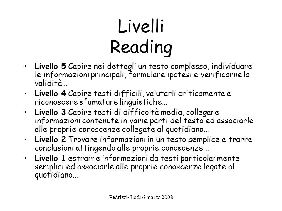 Livelli Reading