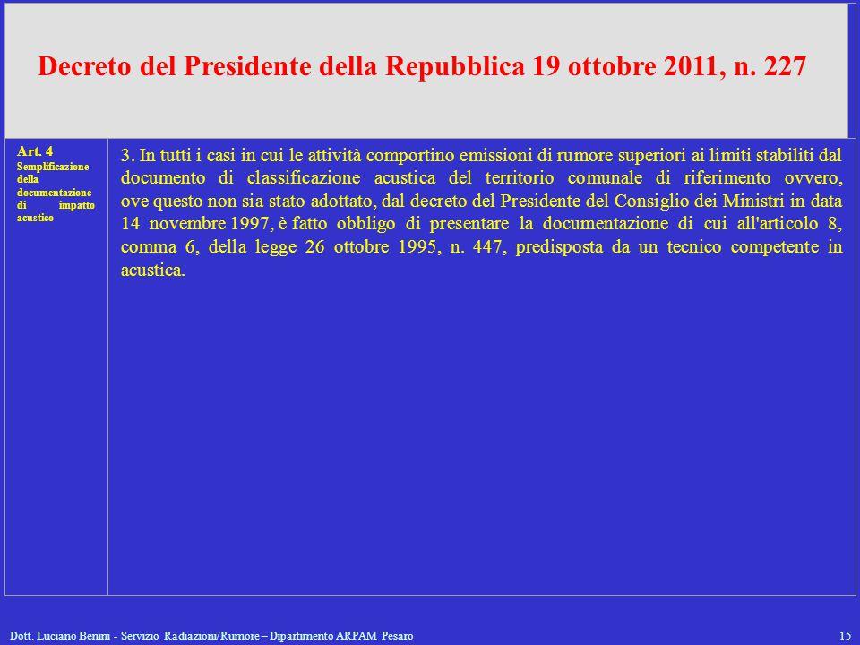 Decreto del Presidente della Repubblica 19 ottobre 2011, n. 227