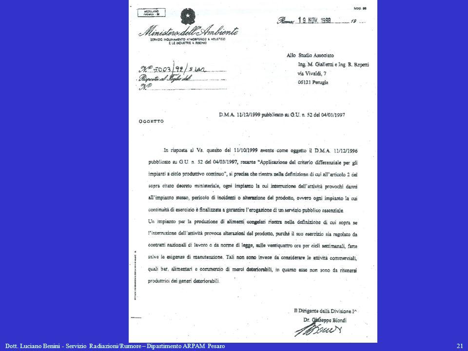 Dott. Luciano Benini - Servizio Radiazioni/Rumore – Dipartimento ARPAM Pesaro