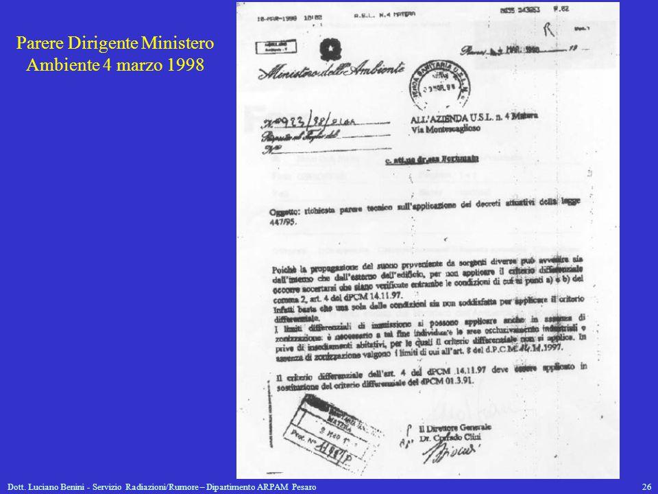 Parere Dirigente Ministero Ambiente 4 marzo 1998
