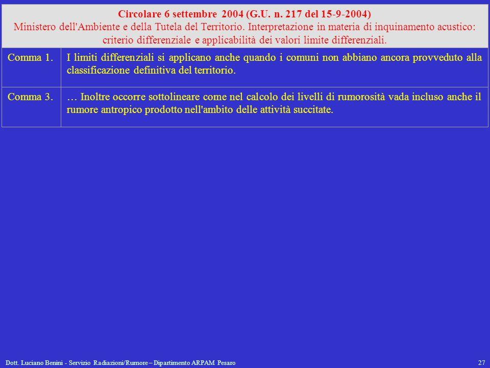 Circolare 6 settembre 2004 (G.U. n. 217 del 15-9-2004)