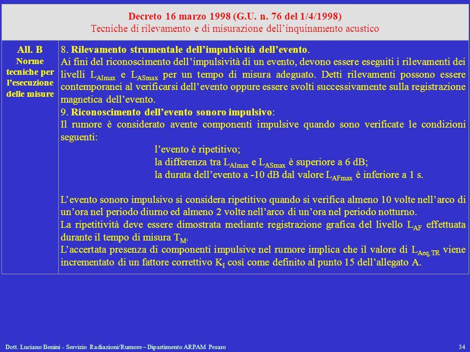 Decreto 16 marzo 1998 (G.U. n. 76 del 1/4/1998)