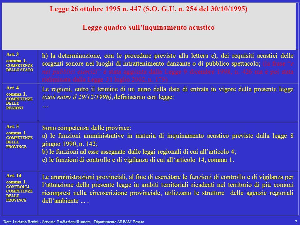 Legge 26 ottobre 1995 n. 447 (S.O. G.U. n. 254 del 30/10/1995)