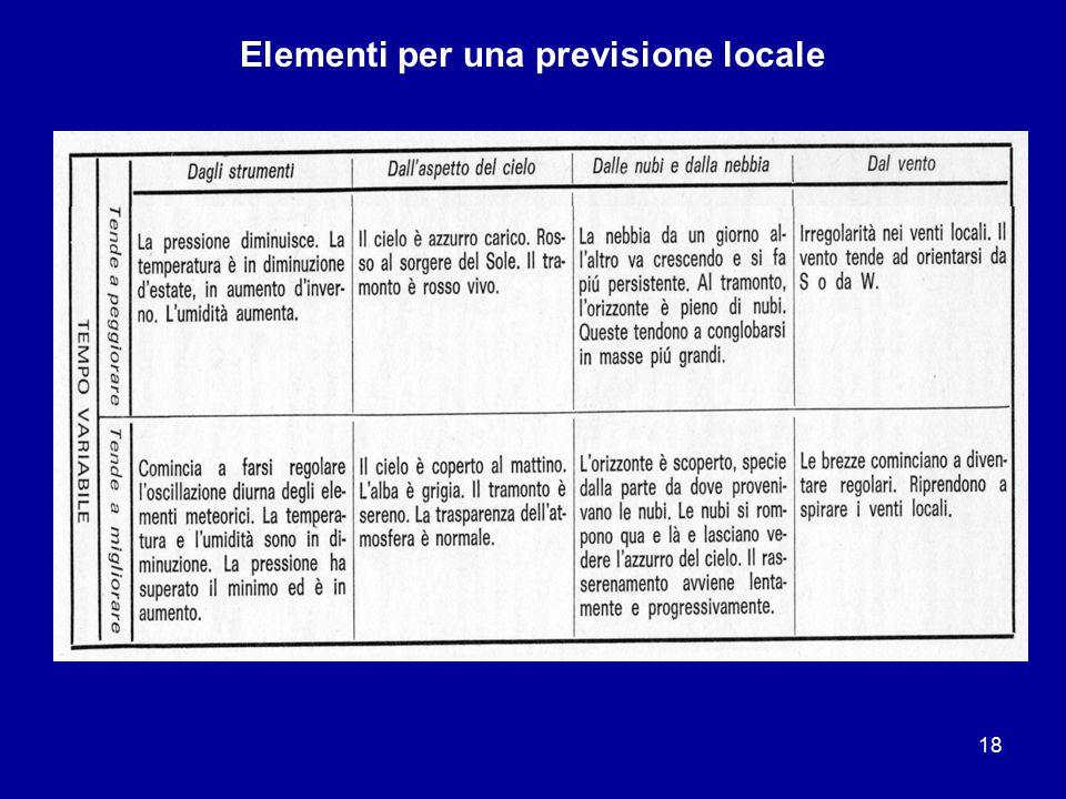 Elementi per una previsione locale
