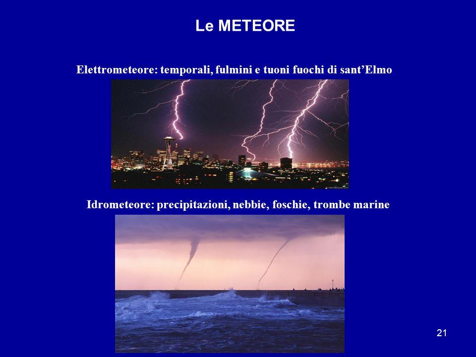 Le METEORE Elettrometeore: temporali, fulmini e tuoni fuochi di sant'Elmo.