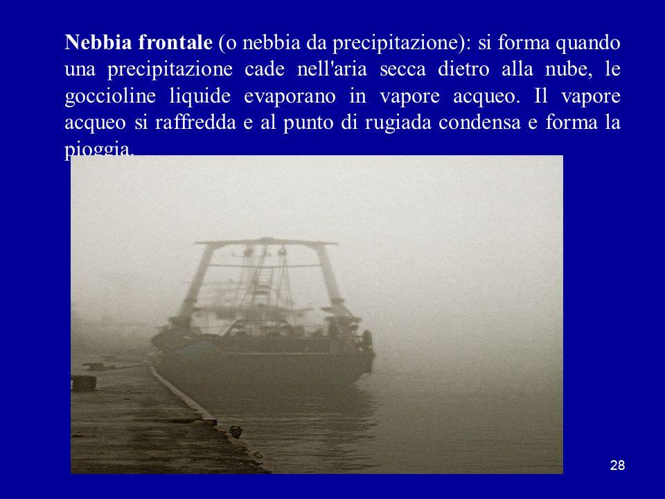 Nebbia frontale (o nebbia da precipitazione): si forma quando una precipitazione cade nell aria secca dietro alla nube, le goccioline liquide evaporano in vapore acqueo.