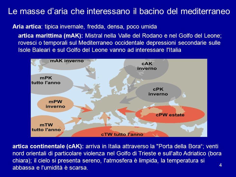 Le masse d'aria che interessano il bacino del mediterraneo